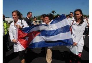 Médicos cubanos en Haití.